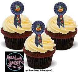 Father'S Day No. 1 #1 Dad Rosette Blue 12 Standup Edible Pre
