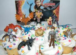 How to Train Your Dragon Set of 12 Figure Cake Toppers / Cup