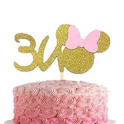 First 1st One Year Cake topper ONE Minnie Pink Gold Glitter