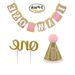 Baby First Birthday Cake Topper Decoration & 1st Baby Girl B