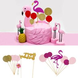 Flamingo Cake Topper Glitter Happy Birthday Wedding Party De