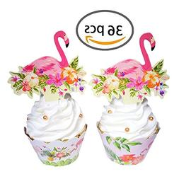 KWJOY Flamingo Cupcake Toppers and Wrappers Double-sided Kid