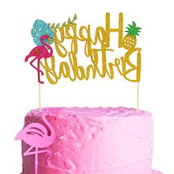 Salmuphy Flamingo Pineapple Cake Toppers Happy Birthday