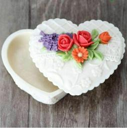 Flower Heart Rose Gift Box Silicone Mould Soap Making Mold C