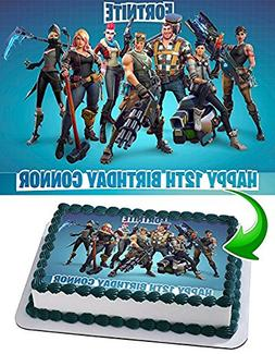 Fortnite Edible Cake Topper Personalized Birthday 1/2 Size S