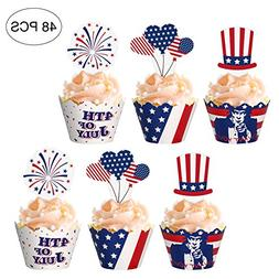 Fourth/4th of July Cupcake Toppers Wrappers - Patriotic Part