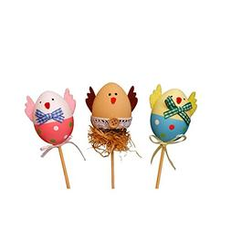 Tinksky 3PCS Funny Chick Design Plastic Coloring Painted Eas