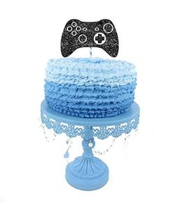 Large video game cake topper glitter black for boy birthday