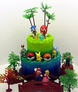 Video Gaming Themed Birthday Cake Topper Set Featuring Rando