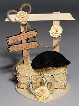 Gettin' Hitched Western Wedding Cake Topper or Table Decorat
