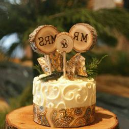 Gifts Rustic Wood Cake Topper Wedding Supplies Mr & Mrs Cake