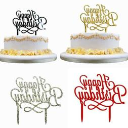 Glitter Paper Happy Birthday Cake Topper Cupcake Dessert Dec