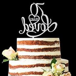 Glitter Silver Acrylic 70 Years Loved Cake Topper, 70th Birt