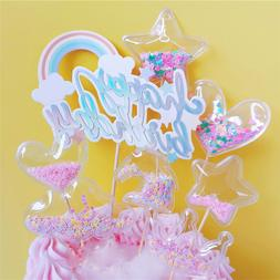 Glitter Star Crown Transparent Star Cupcake Toppers Cake Dec