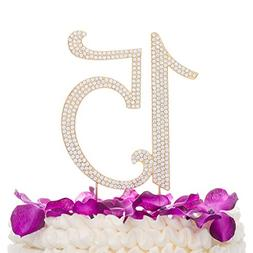 Gold 15 Number Cake Topper 15th Birthday Quinceanera Decorat