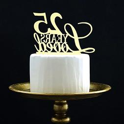 LOVELY BITON Gold 25 Years Loved Cake Topper Shining Numbers