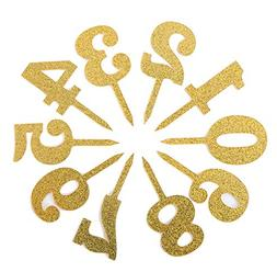 "Gold Acrylic Number Cake Toppers Table 0-9 Numbers 5"" Tall i"