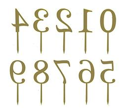 """Gold Acrylic Numbers 0-9 Cake Toppers Table Numbers 5"""" Tall"""