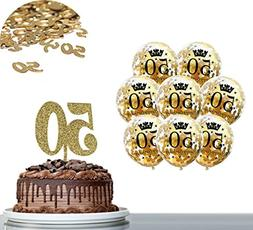 Gold 50th BIRTHDAY DECORATIONS PARTY KIT: 1 Pack Gold Glitte