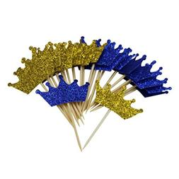 Mybbshower Gold Blue Prince Crown Cupcake Toppers for First