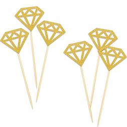Gold Cake Topper, LUTER 50 Pack Mini Glitter Cupcake Toppers