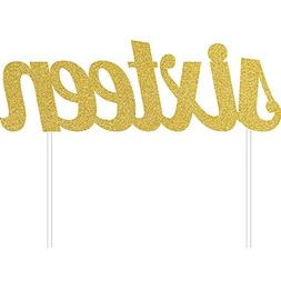 "6"" Gold Glitter Number 'SIXTEEN' Birthday Party Decoration C"