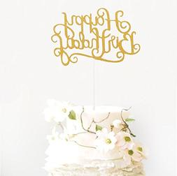 BTSD-home Gold Glitter Happy Birthday Cake Topper for Birthd
