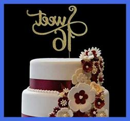 Gold Glitter Monogram Sweet 16 Cake Topper 16Th Birthday Par