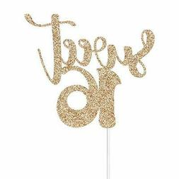 Gold Glitter Sweet 16 Cake Toppers - Happy 16th Birthday Par