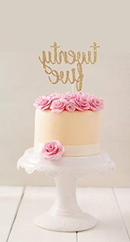 Gold Glitter Twenty Five Cake Topper 25th Birthday Topp