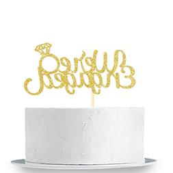 Gold Glitter We're Engaged Cake Topper - Weddings Party Deco