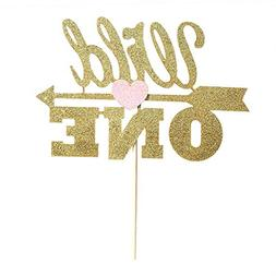 Gold Glitter Wild One Cake Topper With Pink Heart, Gold Boho