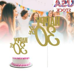 Gold Happy 30Th Cake Toppers Birthday Wedding Anniversary Pa