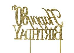 All About Details Gold Happy-80th-birthday Cake Topper
