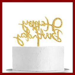 INNORU GOLD Happy Birthday Cake Topper Adult Party Decoratio