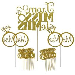 Shxstore Gold Mr Mrs Cake Topper Diamond Ring Cupcake Picks