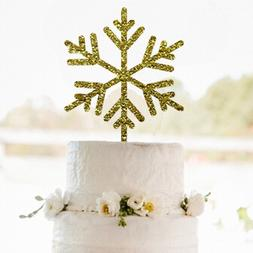 Buythrow® Gold Snowflakes Cake Topper Merry Christmas Decor