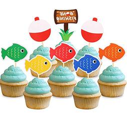 Gone Fishing Bobber Cupcake Toppers Kids Little Fisherman Bi