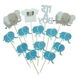 Shxstore Gray and Blue Elephant Cake Cupcake Topper Picks Fo