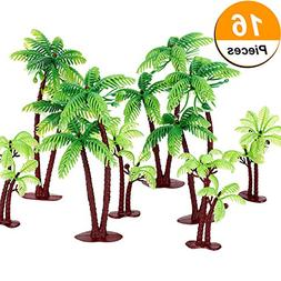 Jovitec 16 Pieces Green Palm Tree Cupcake Topper with Coconuts Cake Topper for