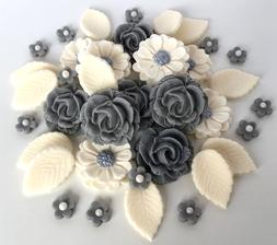 Grey & Ivory Roses Bouquet Edible Sugar Paste Flowers Cake D