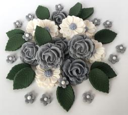 Grey & Ivory Roses Bouquet Edible Sugarcraft Flowers Cake De