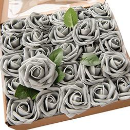 Ling's moment Grey Artificial Roses 50pcs Real Looking Fake