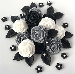 Grey White & Black Edible Roses Bouquet Gothic Wedding Funer