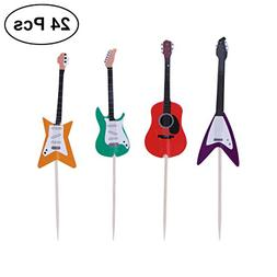 TINKSKY Guitar Cupcake Toppers Musical Instrument Shape Cupc