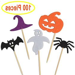 Kuuqa 100 Pcs Halloween Party Cupcake Toppers Picks Decorati