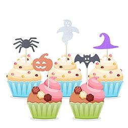Homy Feel 40 Pieces Halloween Theme Glitter Cupcake Toppers,
