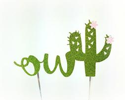 Handmade Succulent Birthday Cake Topper Decoration - two wit