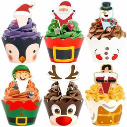 Haojiake 60 Sets Christmas Cupcake Toppers and Wrappers for