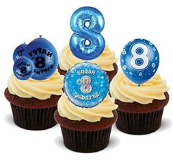 HAPPY 8TH BIRTHDAY BOY BLUE MIX - Fun Novelty PREMIUM STAND